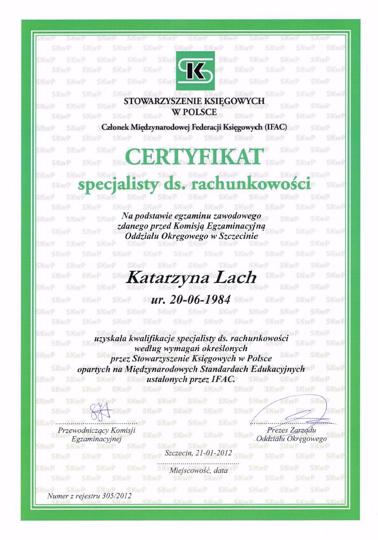 Certyfikat specjalisty ds. rachunkowosci